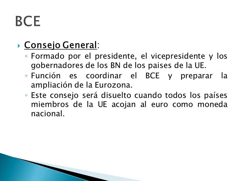 Consejo General: Formado por el presidente, el vicepresidente y los gobernadores de los BN de los paises de la UE.