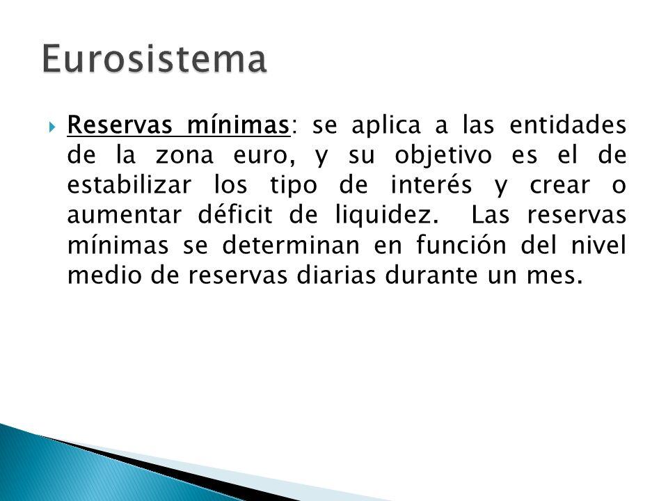 Reservas mínimas: se aplica a las entidades de la zona euro, y su objetivo es el de estabilizar los tipo de interés y crear o aumentar déficit de liquidez.