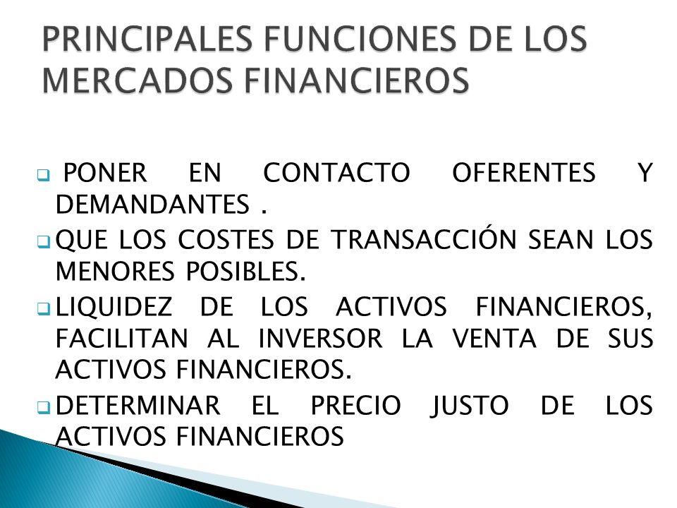 PONER EN CONTACTO OFERENTES Y DEMANDANTES.QUE LOS COSTES DE TRANSACCIÓN SEAN LOS MENORES POSIBLES.