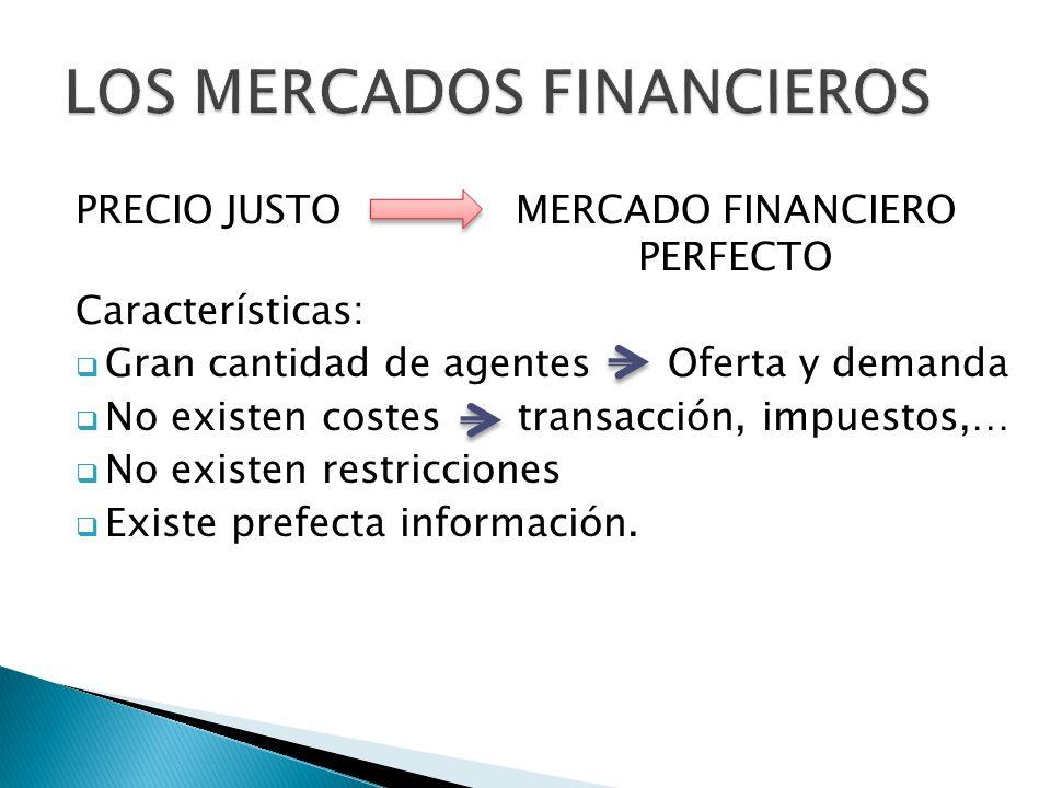 PRECIO JUSTO MERCADO FINANCIERO PERFECTO Características: Gran cantidad de agentes Oferta y demanda No existen costes transacción, impuestos,… No existen restricciones Existe prefecta información.