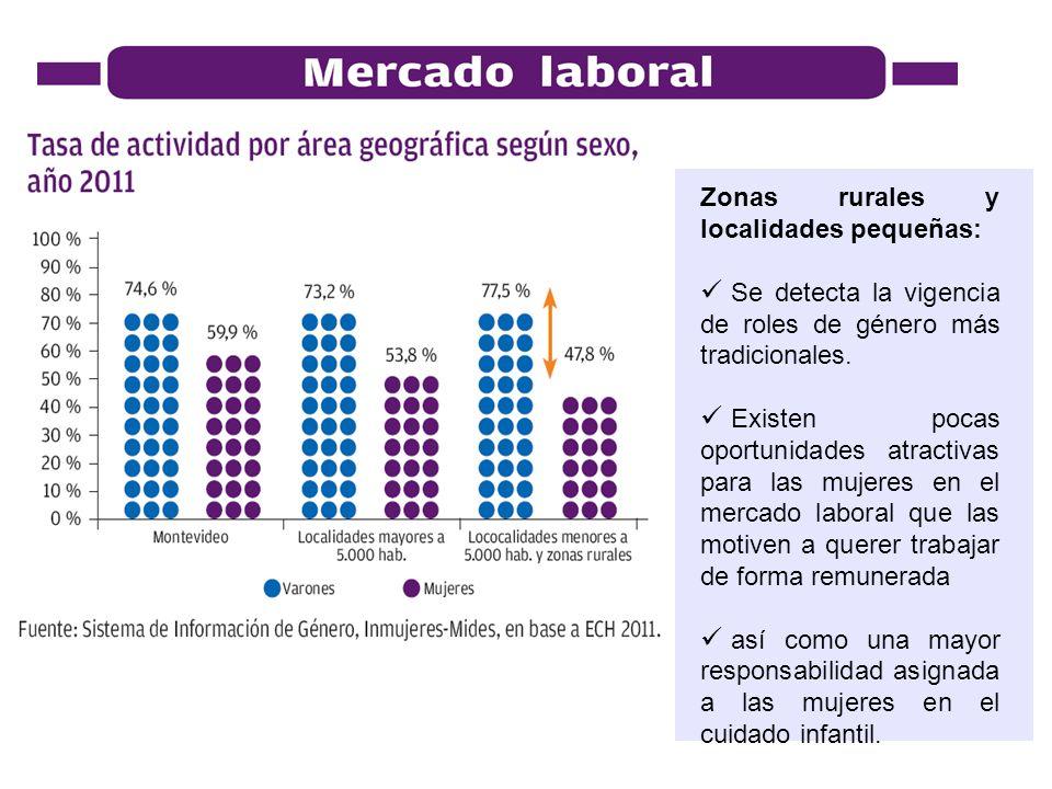 Zonas rurales y localidades pequeñas: Se detecta la vigencia de roles de género más tradicionales. Existen pocas oportunidades atractivas para las muj