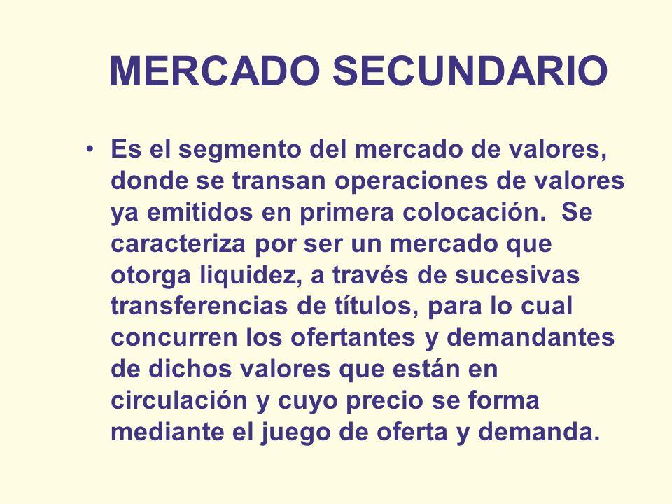 MERCADO SECUNDARIO Es el segmento del mercado de valores, donde se transan operaciones de valores ya emitidos en primera colocación. Se caracteriza po