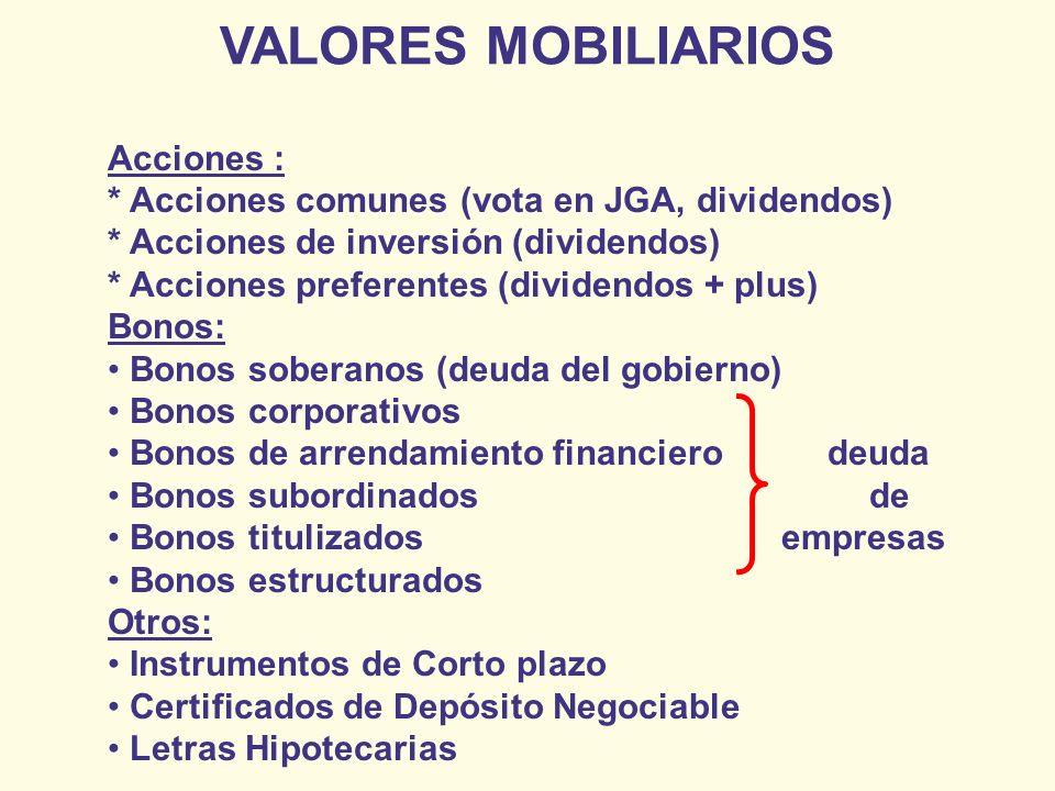 Acciones : * Acciones comunes (vota en JGA, dividendos) * Acciones de inversión (dividendos) * Acciones preferentes (dividendos + plus) Bonos: Bonos s