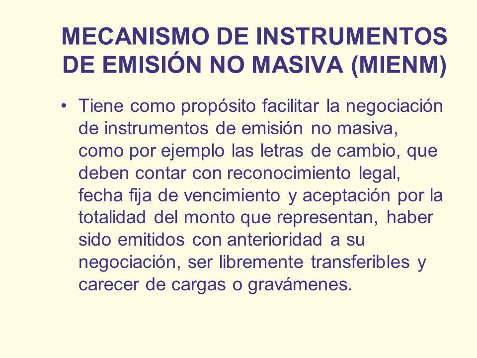 MECANISMO DE INSTRUMENTOS DE EMISIÓN NO MASIVA (MIENM) Tiene como propósito facilitar la negociación de instrumentos de emisión no masiva, como por ej