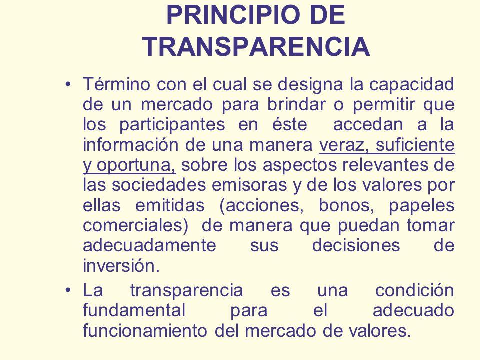 PRINCIPIO DE TRANSPARENCIA Término con el cual se designa la capacidad de un mercado para brindar o permitir que los participantes en éste accedan a l