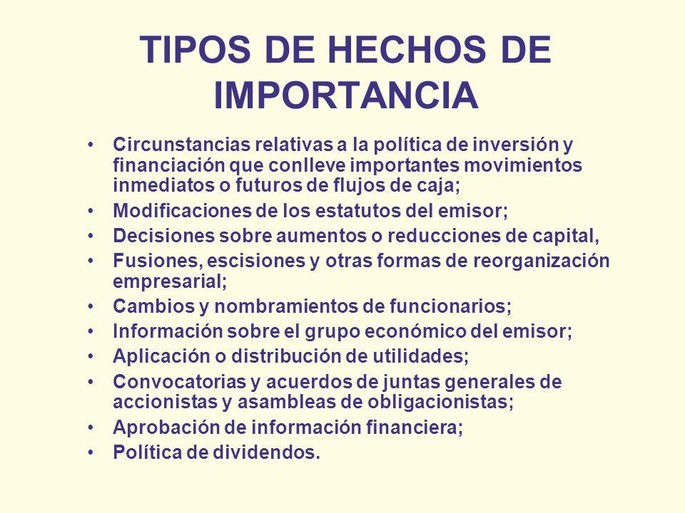 TIPOS DE HECHOS DE IMPORTANCIA Circunstancias relativas a la política de inversión y financiación que conlleve importantes movimientos inmediatos o fu