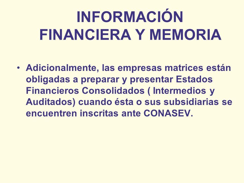 INFORMACIÓN FINANCIERA Y MEMORIA Adicionalmente, las empresas matrices están obligadas a preparar y presentar Estados Financieros Consolidados ( Inter