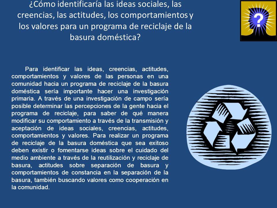¿Cómo identificaría las ideas sociales, las creencias, las actitudes, los comportamientos y los valores para un programa de reciclaje de la basura dom