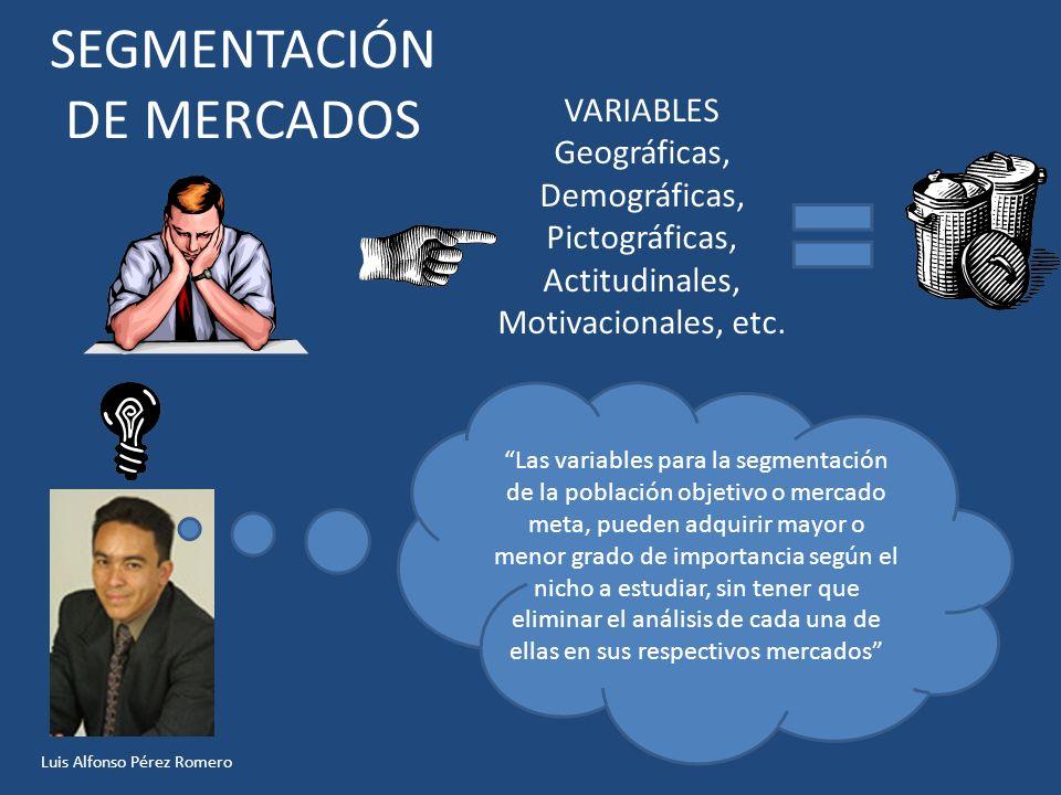 SEGMENTACIÓN DE MERCADOS VARIABLES Geográficas, Demográficas, Pictográficas, Actitudinales, Motivacionales, etc. Las variables para la segmentación de