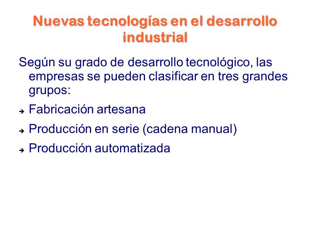 Nuevas tecnologías en el desarrollo industrial Según su grado de desarrollo tecnológico, las empresas se pueden clasificar en tres grandes grupos: Fabricación artesana Producción en serie (cadena manual) Producción automatizada