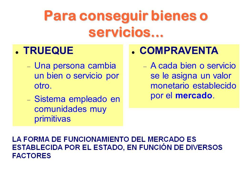 Para conseguir bienes o servicios... TRUEQUE Una persona cambia un bien o servicio por otro.