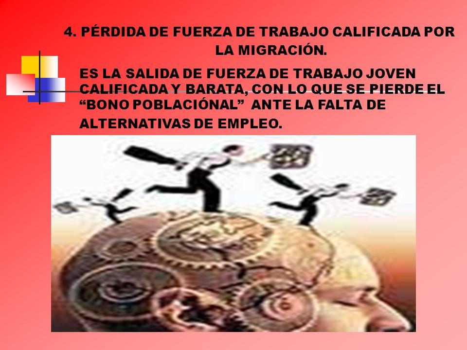 4. PÉRDIDA DE FUERZA DE TRABAJO CALIFICADA POR LA MIGRACIÓN. ES LA SALIDA DE FUERZA DE TRABAJO JOVEN CALIFICADA Y BARATA, CON LO QUE SE PIERDE EL BONO