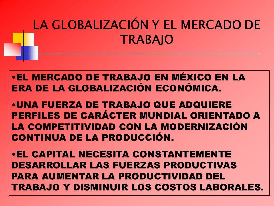 LA GLOBALIZACIÓN Y EL MERCADO DE TRABAJO EL MERCADO DE TRABAJO EN MÉXICO EN LA ERA DE LA GLOBALIZACIÓN ECONÓMICA. UNA FUERZA DE TRABAJO QUE ADQUIERE P