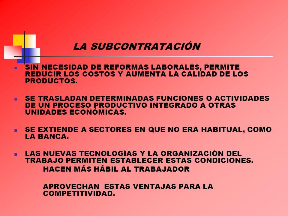 LA SUBCONTRATACIÓN EL DESARROLLO TECNOLÓGICO: EL USO DE LAS COMPUTADORAS, LAS TELECOMUNICACIONES Y EL TRANSPORTE PERMITEN A LAS EMPRESAS TRASPLANTAR LA PRODUCCIÓN A CUALQUIER LUGAR DEL MUNDO Y APROVECHARSE DE UNA MANO DE OBRA MUCHO MÁS ABUNDANTE Y BARATA.