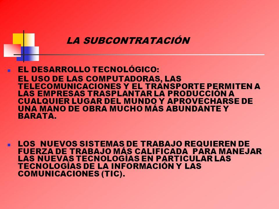 LA SUBCONTRATACIÓN EL DESARROLLO TECNOLÓGICO: EL USO DE LAS COMPUTADORAS, LAS TELECOMUNICACIONES Y EL TRANSPORTE PERMITEN A LAS EMPRESAS TRASPLANTAR L