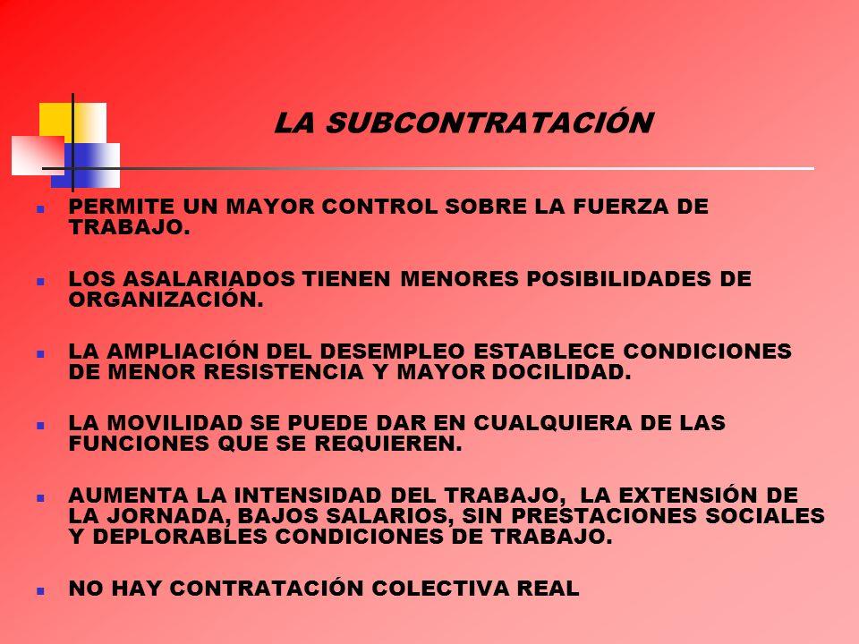 LA SUBCONTRATACIÓN PERMITE UN MAYOR CONTROL SOBRE LA FUERZA DE TRABAJO. LOS ASALARIADOS TIENEN MENORES POSIBILIDADES DE ORGANIZACIÓN. LA AMPLIACIÓN DE