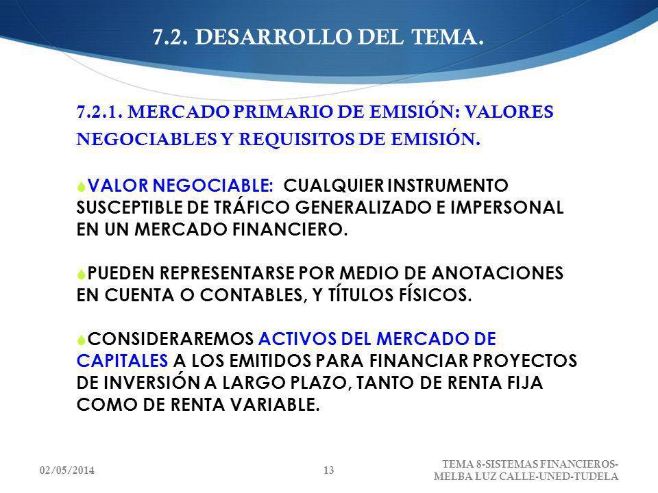 7.2. DESARROLLO DEL TEMA. 7.2.1. MERCADO PRIMARIO DE EMISIÓN: VALORES NEGOCIABLES Y REQUISITOS DE EMISIÓN. VALOR NEGOCIABLE: CUALQUIER INSTRUMENTO SUS