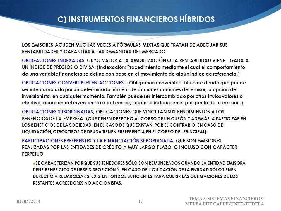 C) INSTRUMENTOS FINANCIEROS HÍBRIDOS LOS EMISORES ACUDEN MUCHAS VECES A FÓRMULAS MIXTAS QUE TRATAN DE ADECUAR SUS RENTABILIDADES Y GARANTÍAS A LAS DEM