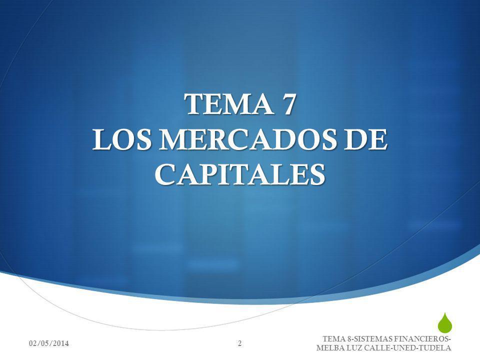 TEMA 7 LOS MERCADOS DE CAPITALES 02/05/20142 TEMA 8-SISTEMAS FINANCIEROS- MELBA LUZ CALLE-UNED-TUDELA