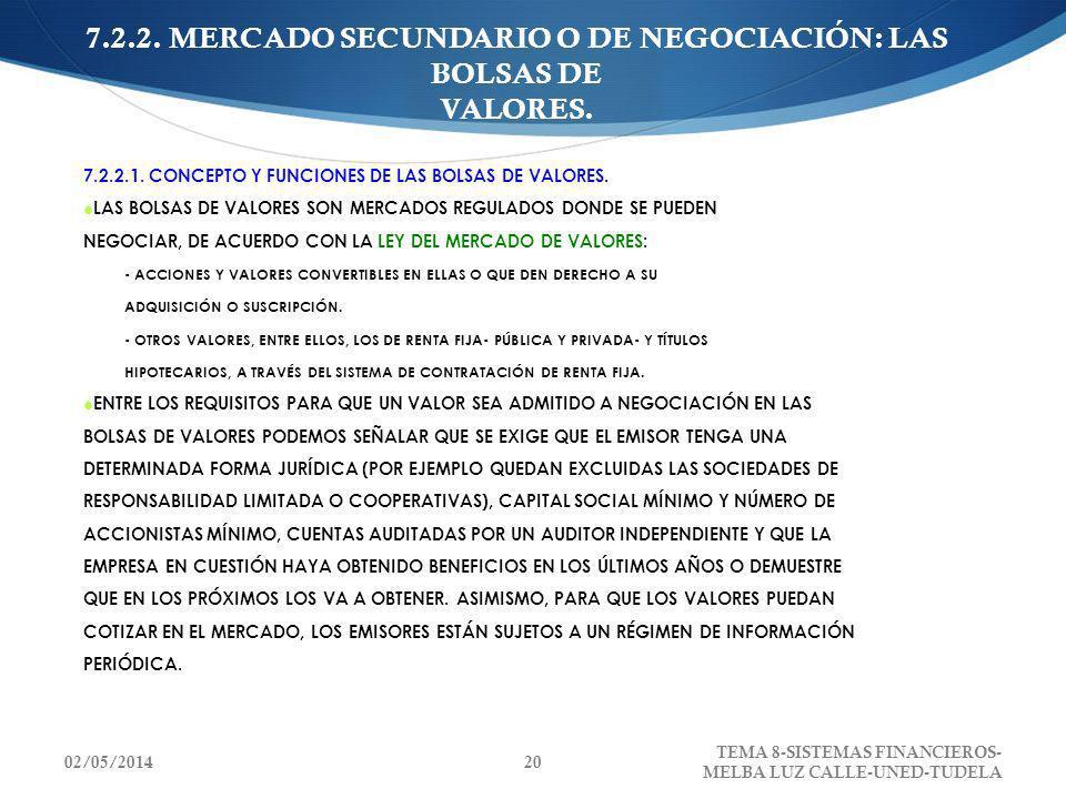 7.2.2. MERCADO SECUNDARIO O DE NEGOCIACIÓN: LAS BOLSAS DE VALORES. 7.2.2.1. CONCEPTO Y FUNCIONES DE LAS BOLSAS DE VALORES. LAS BOLSAS DE VALORES SON M