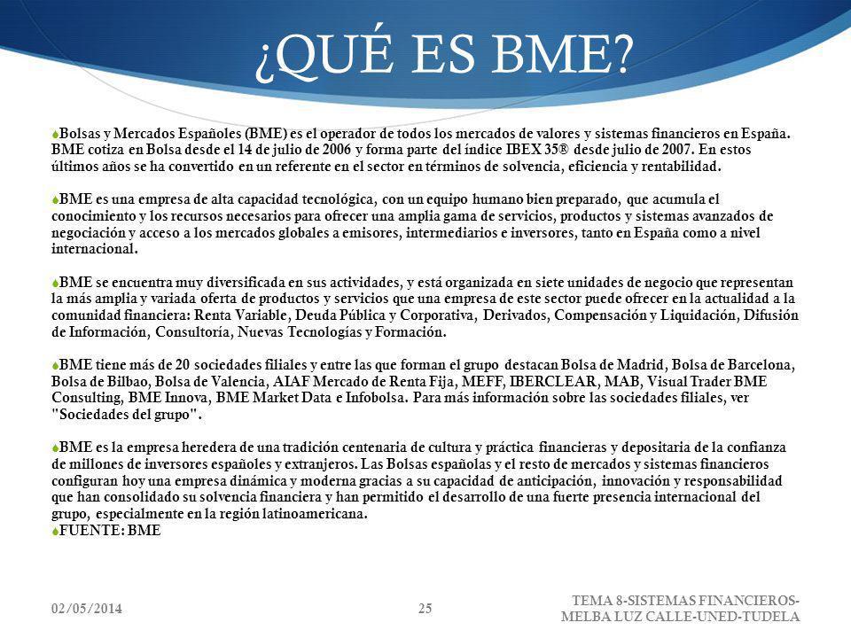 02/05/2014 TEMA 8-SISTEMAS FINANCIEROS- MELBA LUZ CALLE-UNED-TUDELA 25 ¿QUÉ ES BME? Bolsas y Mercados Españoles (BME) es el operador de todos los merc