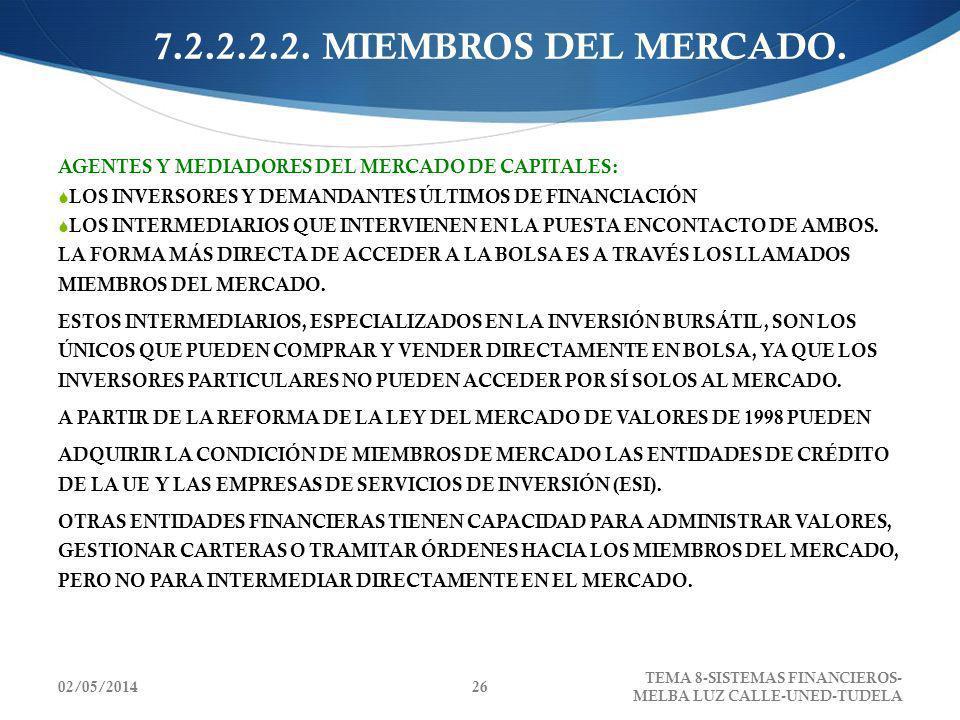 02/05/2014 TEMA 8-SISTEMAS FINANCIEROS- MELBA LUZ CALLE-UNED-TUDELA 26 7.2.2.2.2. MIEMBROS DEL MERCADO. AGENTES Y MEDIADORES DEL MERCADO DE CAPITALES: