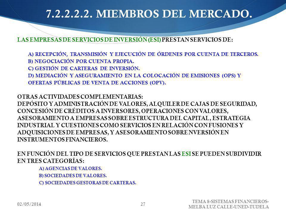02/05/2014 TEMA 8-SISTEMAS FINANCIEROS- MELBA LUZ CALLE-UNED-TUDELA 27 7.2.2.2.2. MIEMBROS DEL MERCADO. LAS EMPRESAS DE SERVICIOS DE INVERSIÓN (ESI) P