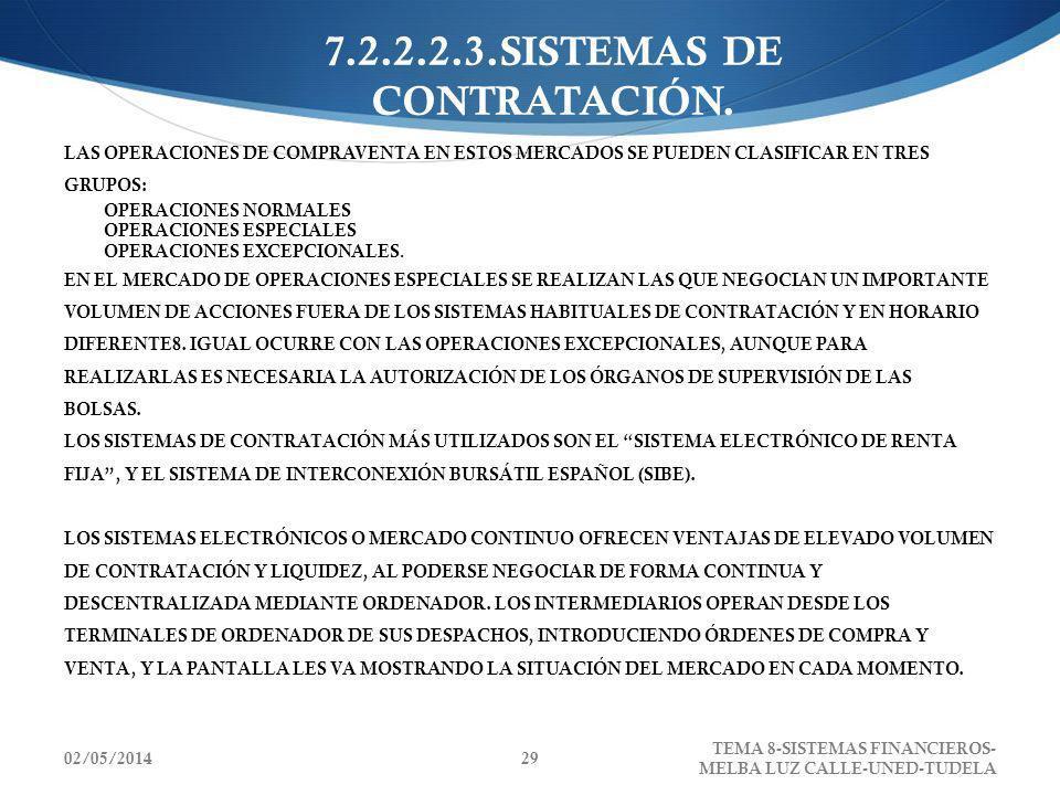 02/05/2014 TEMA 8-SISTEMAS FINANCIEROS- MELBA LUZ CALLE-UNED-TUDELA 29 7.2.2.2.3.SISTEMAS DE CONTRATACIÓN. LAS OPERACIONES DE COMPRAVENTA EN ESTOS MER