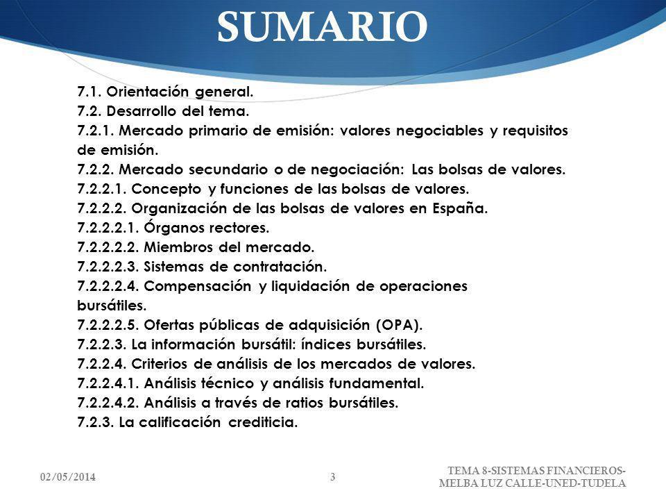 SUMARIO 7.1. Orientación general. 7.2. Desarrollo del tema. 7.2.1. Mercado primario de emisión: valores negociables y requisitos de emisión. 7.2.2. Me