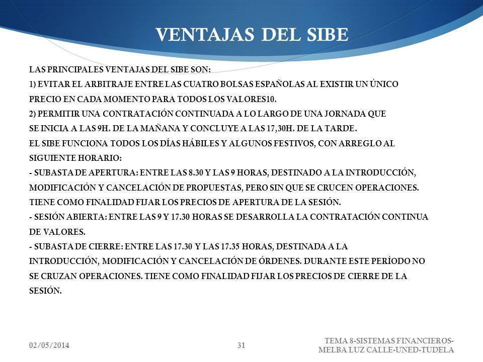 02/05/2014 TEMA 8-SISTEMAS FINANCIEROS- MELBA LUZ CALLE-UNED-TUDELA 31 VENTAJAS DEL SIBE LAS PRINCIPALES VENTAJAS DEL SIBE SON: 1) EVITAR EL ARBITRAJE