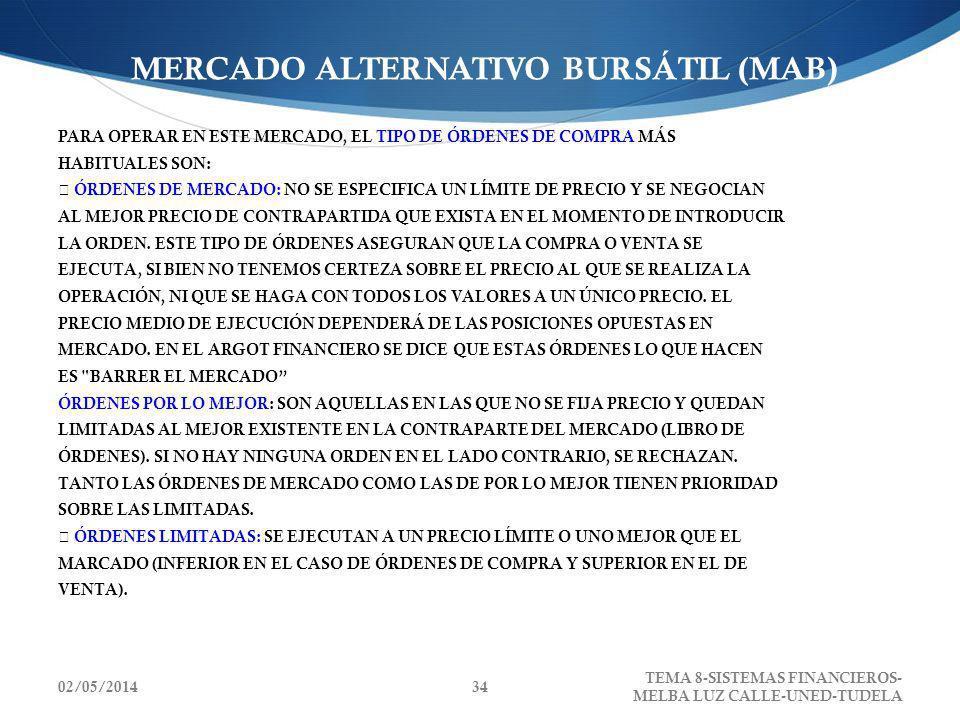 02/05/2014 TEMA 8-SISTEMAS FINANCIEROS- MELBA LUZ CALLE-UNED-TUDELA 34 MERCADO ALTERNATIVO BURSÁTIL (MAB) PARA OPERAR EN ESTE MERCADO, EL TIPO DE ÓRDE