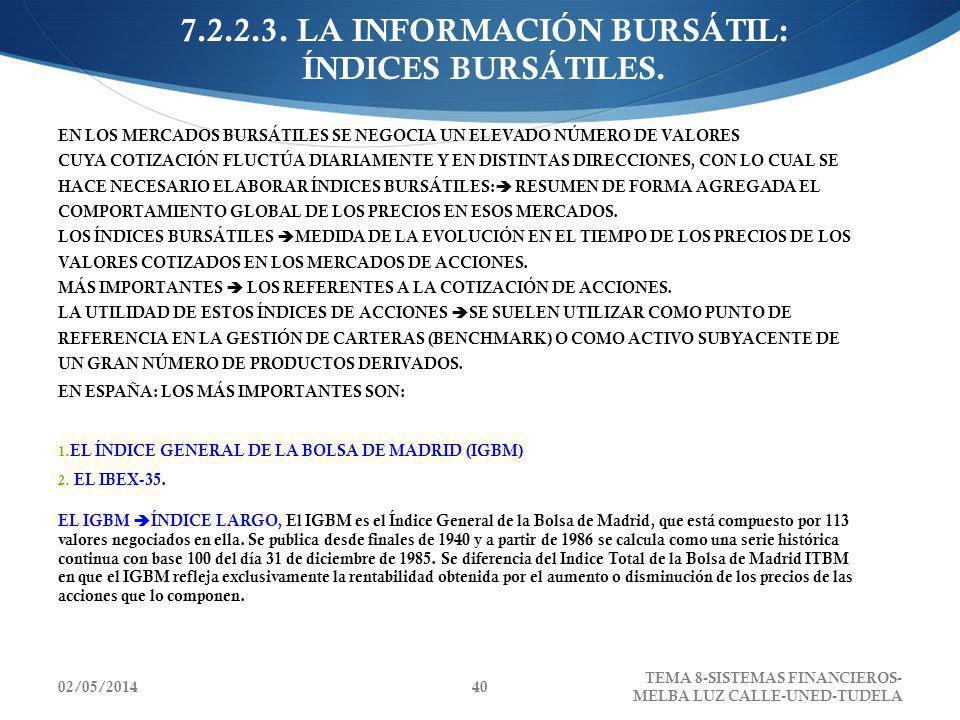 02/05/2014 TEMA 8-SISTEMAS FINANCIEROS- MELBA LUZ CALLE-UNED-TUDELA 40 7.2.2.3. LA INFORMACIÓN BURSÁTIL: ÍNDICES BURSÁTILES. EN LOS MERCADOS BURSÁTILE