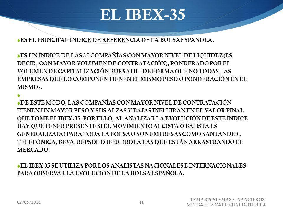 02/05/2014 TEMA 8-SISTEMAS FINANCIEROS- MELBA LUZ CALLE-UNED-TUDELA 41 EL IBEX-35 ES EL PRINCIPAL ÍNDICE DE REFERENCIA DE LA BOLSA ESPAÑOLA. ES UN ÍND