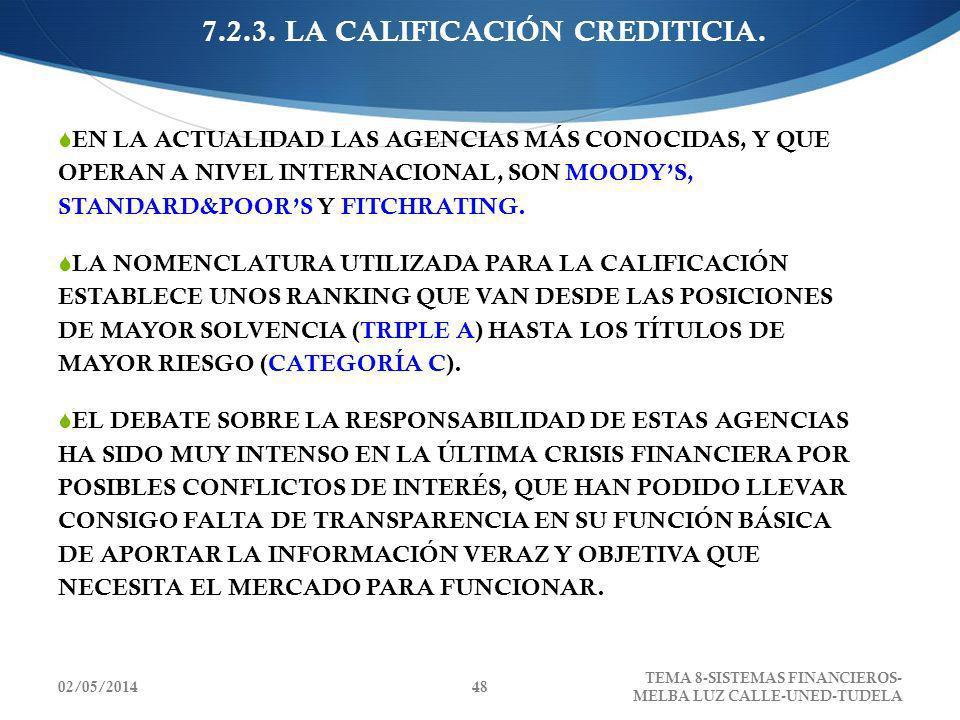 02/05/2014 TEMA 8-SISTEMAS FINANCIEROS- MELBA LUZ CALLE-UNED-TUDELA 48 7.2.3. LA CALIFICACIÓN CREDITICIA. EN LA ACTUALIDAD LAS AGENCIAS MÁS CONOCIDAS,