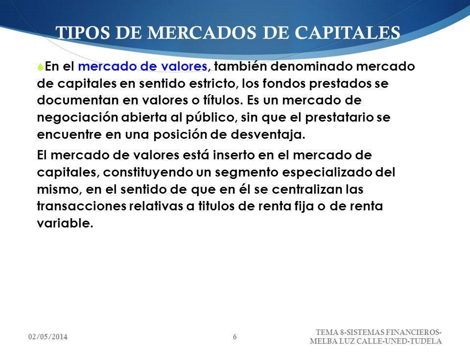 TIPOS DE MERCADOS DE CAPITALES En el mercado de valores, también denominado mercado de capitales en sentido estricto, los fondos prestados se document
