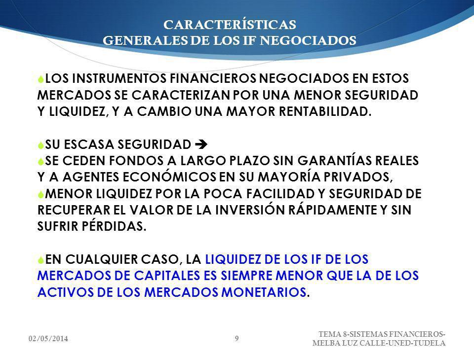 CARACTERÍSTICAS GENERALES DE LOS IF NEGOCIADOS LOS INSTRUMENTOS FINANCIEROS NEGOCIADOS EN ESTOS MERCADOS SE CARACTERIZAN POR UNA MENOR SEGURIDAD Y LIQ