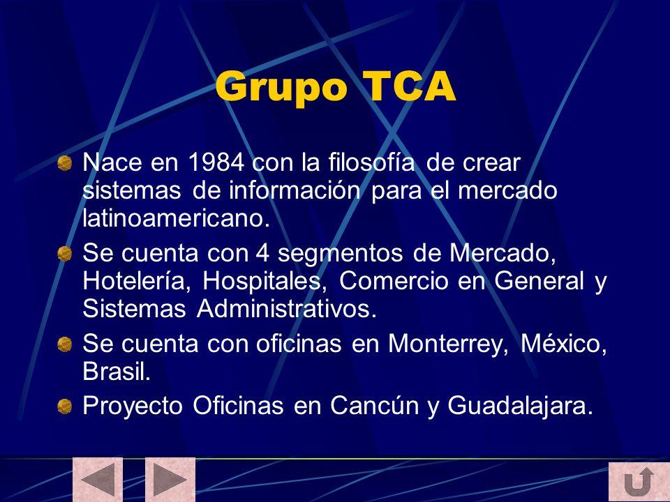 Grupo TCA Nace en 1984 con la filosofía de crear sistemas de información para el mercado latinoamericano. Se cuenta con 4 segmentos de Mercado, Hotele