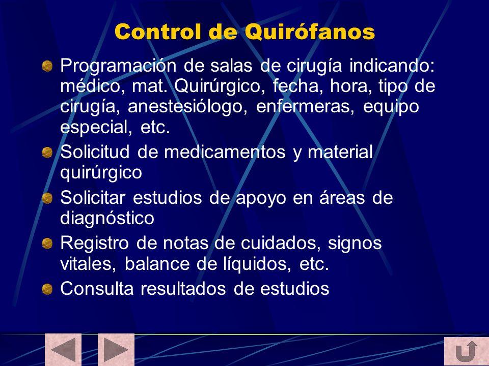 Control de Quirófanos Programación de salas de cirugía indicando: médico, mat. Quirúrgico, fecha, hora, tipo de cirugía, anestesiólogo, enfermeras, eq