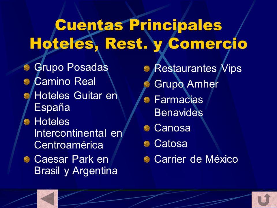 Cuentas Principales Hoteles, Rest. y Comercio Grupo Posadas Camino Real Hoteles Guitar en España Hoteles Intercontinental en Centroamérica Caesar Park