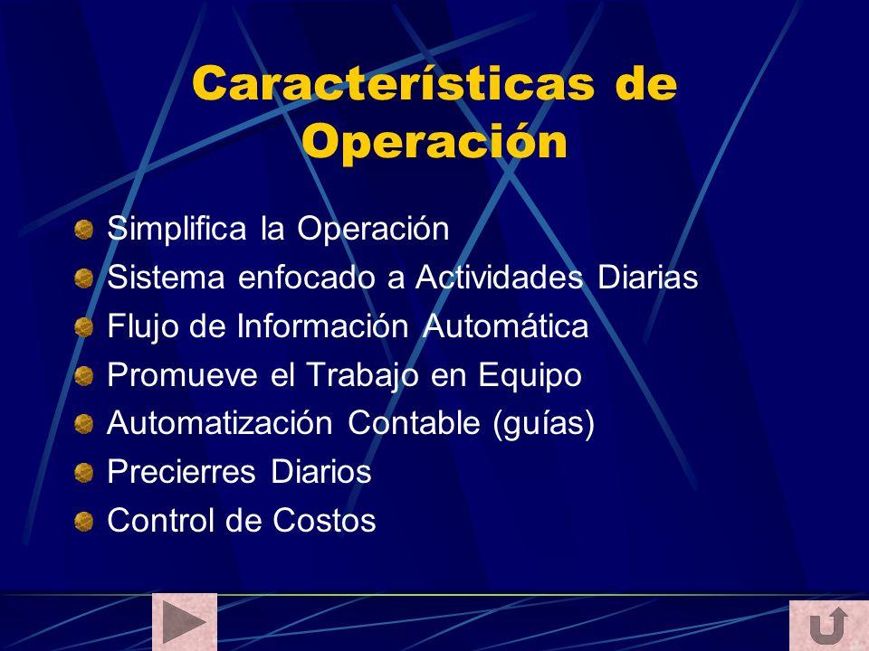 Características de Operación Simplifica la Operación Sistema enfocado a Actividades Diarias Flujo de Información Automática Promueve el Trabajo en Equ