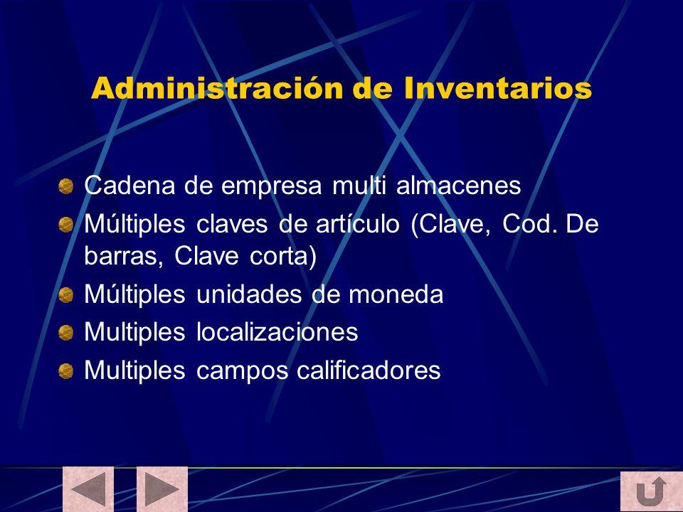 Administración de Inventarios Cadena de empresa multi almacenes Múltiples claves de artículo (Clave, Cod. De barras, Clave corta) Múltiples unidades d