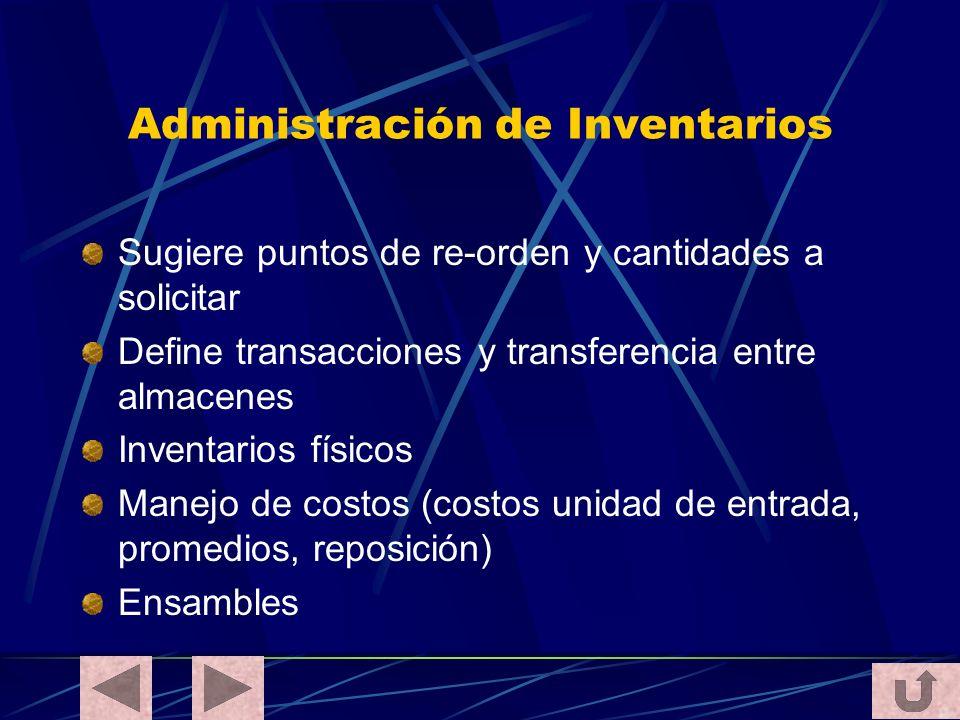 Administración de Inventarios Sugiere puntos de re-orden y cantidades a solicitar Define transacciones y transferencia entre almacenes Inventarios fís