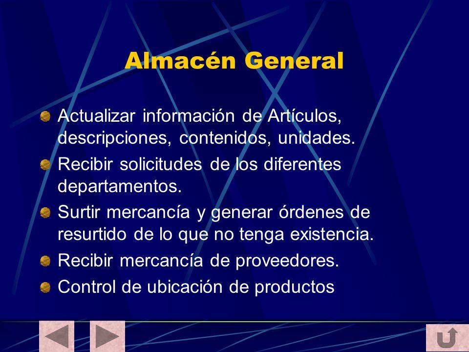 Almacén General Actualizar información de Artículos, descripciones, contenidos, unidades. Recibir solicitudes de los diferentes departamentos. Surtir