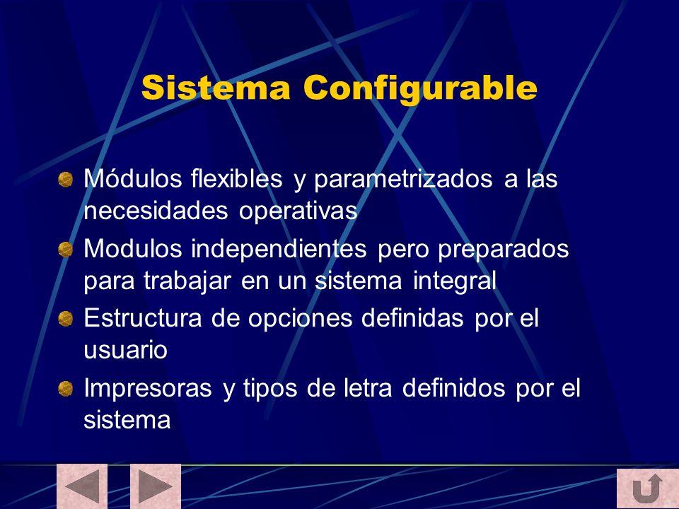 Sistema Configurable Módulos flexibles y parametrizados a las necesidades operativas Modulos independientes pero preparados para trabajar en un sistem