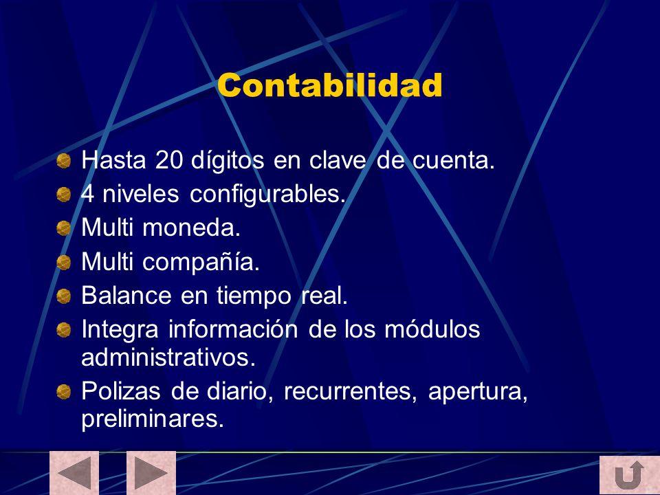 Contabilidad Hasta 20 dígitos en clave de cuenta. 4 niveles configurables. Multi moneda. Multi compañía. Balance en tiempo real. Integra información d