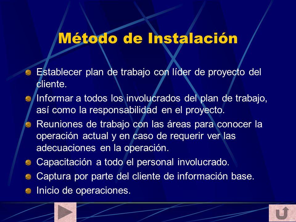 Método de Instalación Establecer plan de trabajo con líder de proyecto del cliente. Informar a todos los involucrados del plan de trabajo, así como la