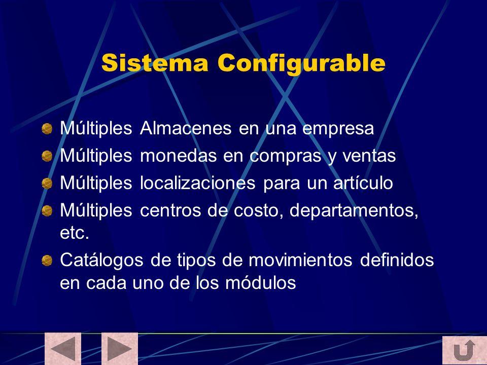 Sistema Configurable Múltiples Almacenes en una empresa Múltiples monedas en compras y ventas Múltiples localizaciones para un artículo Múltiples cent