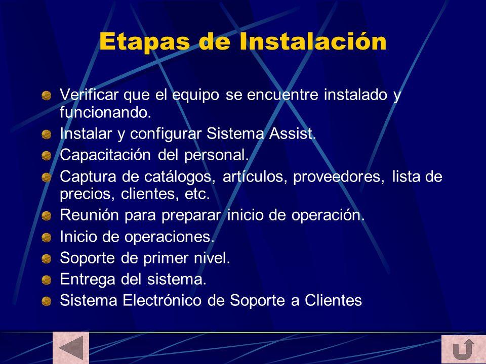 Etapas de Instalación Verificar que el equipo se encuentre instalado y funcionando. Instalar y configurar Sistema Assist. Capacitación del personal. C