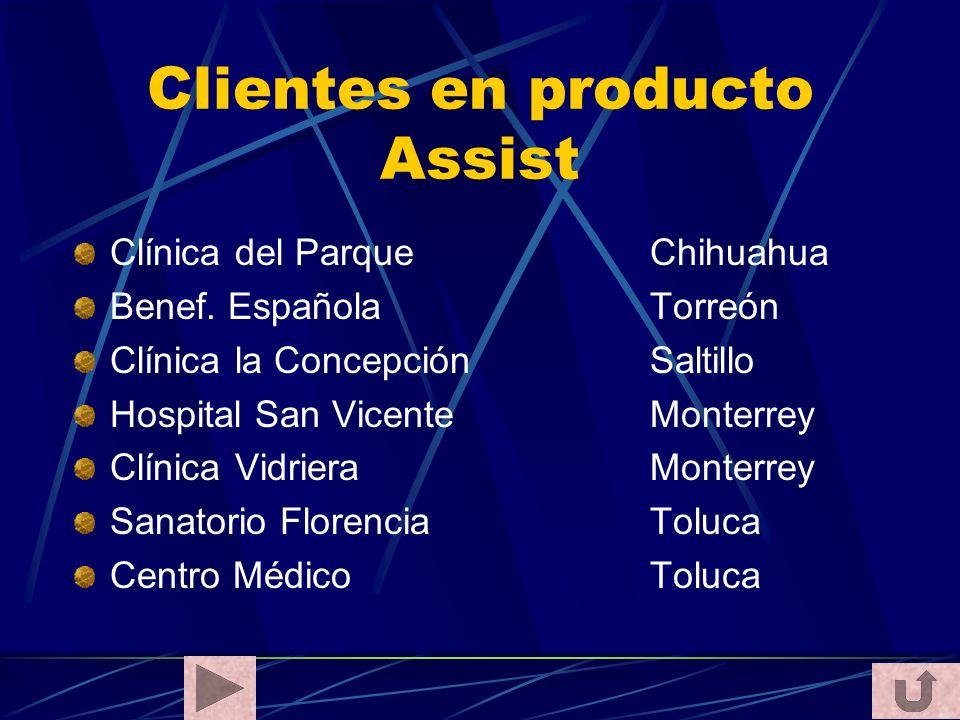 Clientes en producto Assist Clínica del Parque Chihuahua Benef. EspañolaTorreón Clínica la ConcepciónSaltillo Hospital San Vicente Monterrey Clínica V