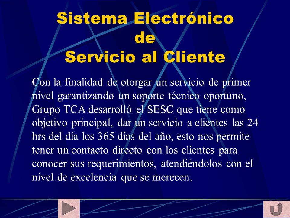Sistema Electrónico de Servicio al Cliente Con la finalidad de otorgar un servicio de primer nivel garantizando un soporte técnico oportuno, Grupo TCA